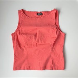 stretchy coral high neck belly top